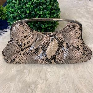 [Express] Snakeskin Metal Clutch